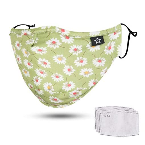 Spring Seaon stylish face mask, green with flowers