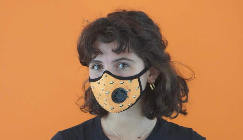 Vogmask, fashionable face mask with honeybee pattern designed for immunocompromised patients.
