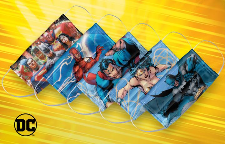MaskClub mask pack featuring DC superheroes.
