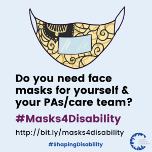 Free clear masks for people with disabilities and caregivers.
