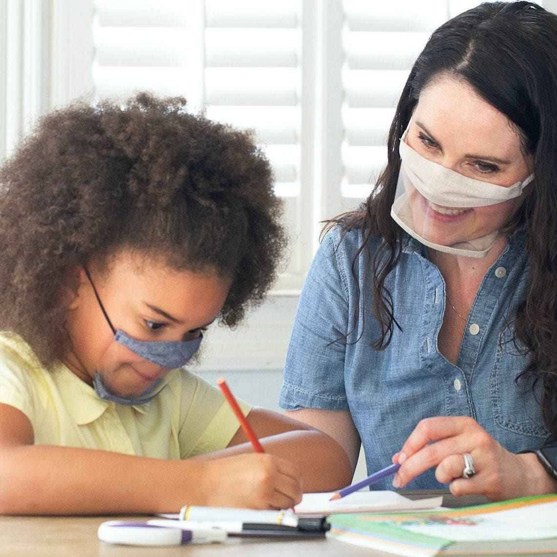 Clear face mask in child and adult sizes for Deaf people and teachers.