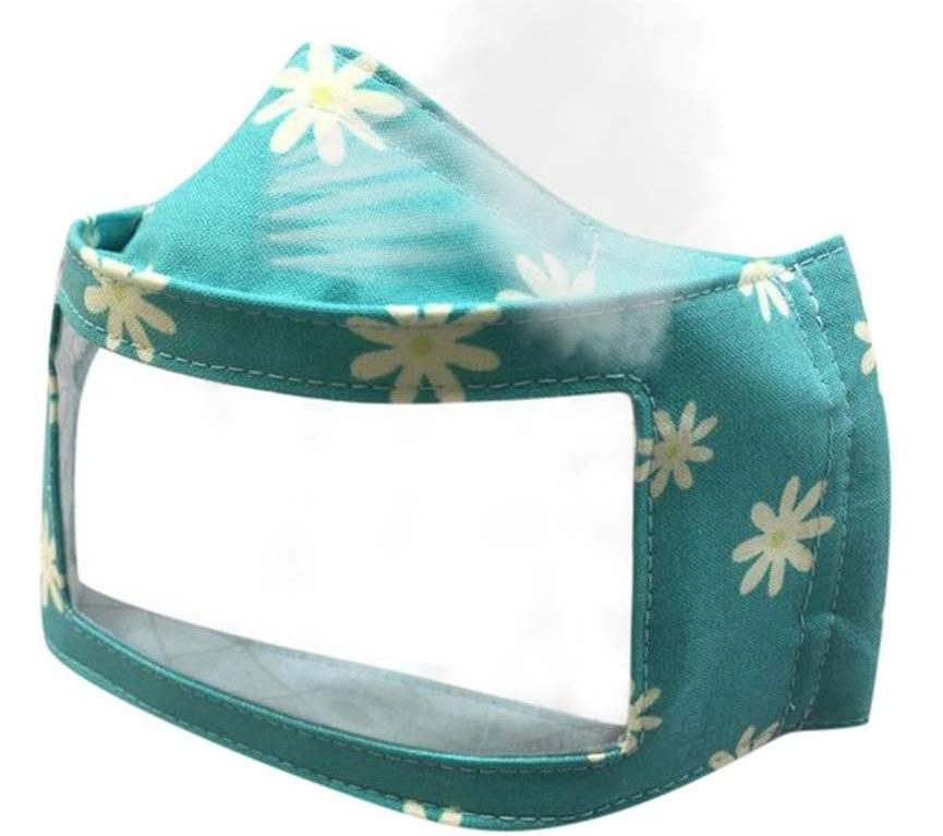 Clear face mask for sale, supports Deaf people with teal and floral fabric edges.