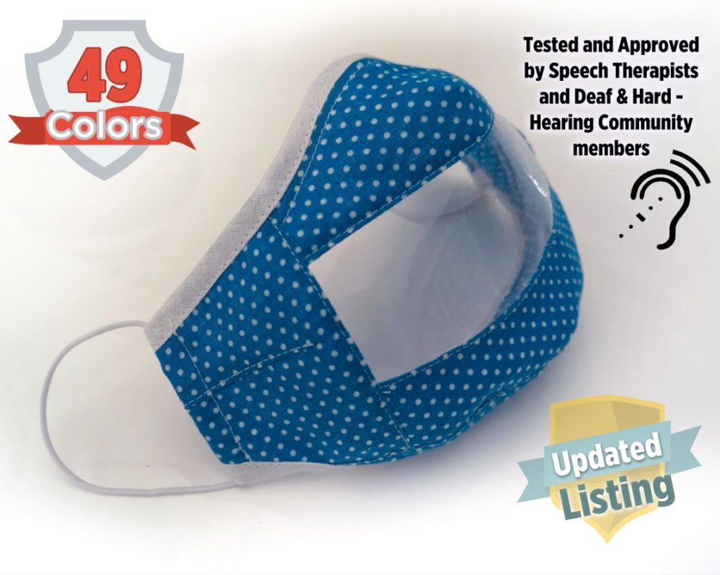 Clear masks for sale for Deaf people with blue and white polka dotted border. Recommended by speech therapists.